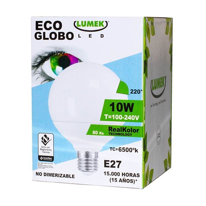Bombillo Led Eco Globo 10W 6500k