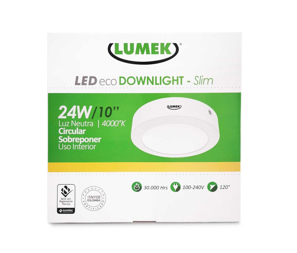 Luminaria Led Eco Downlight Bc10 Slim 24W 4000K